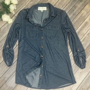 French Laundry - Faux-Denim Button up